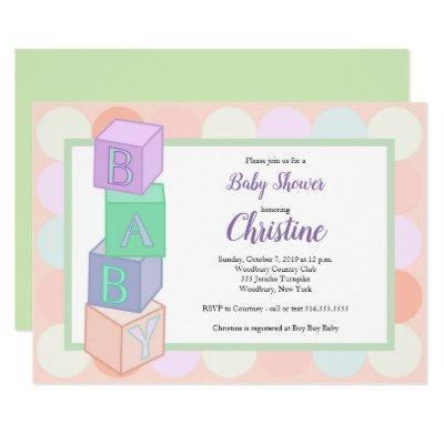 Blocks Baby Shower Invitations