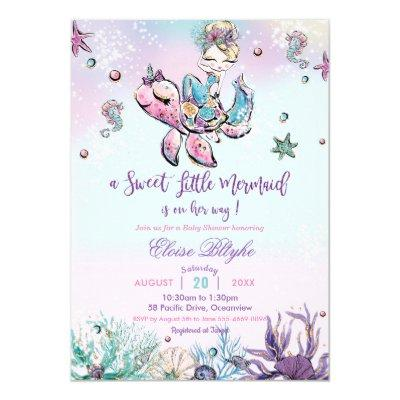 Blond Mermaid Baby Shower Under the Sea Baby Girl Invitation