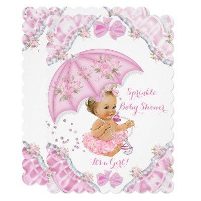 Blonde Baby Shower Pink Umbrella Girl Flowers Invitations