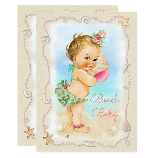 Blonde beach baby conch shell baby shower invitations blonde beach baby conch shell filmwisefo Image collections