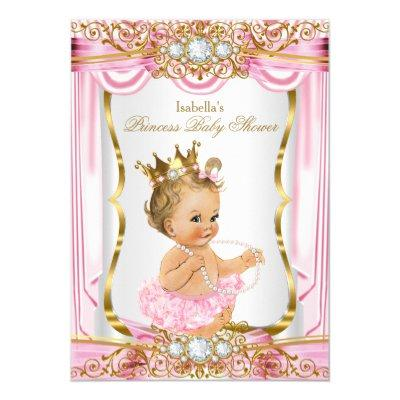 Blonde Girl Princess Baby Shower Pink Silk Gold Invitations