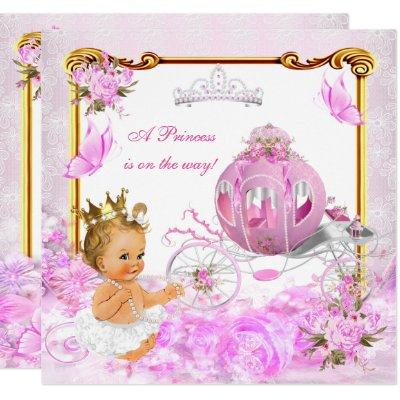 Blonde Princess Baby Shower Pink Gold Carriage Invitation