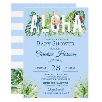 Blue Aloha Flamingo Tropical Birds Boy Baby Shower Invitation