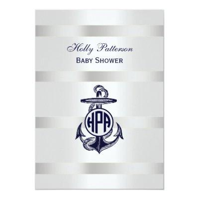 Blue Anchor Silver White Navy Vine Monogram 33 Invitation