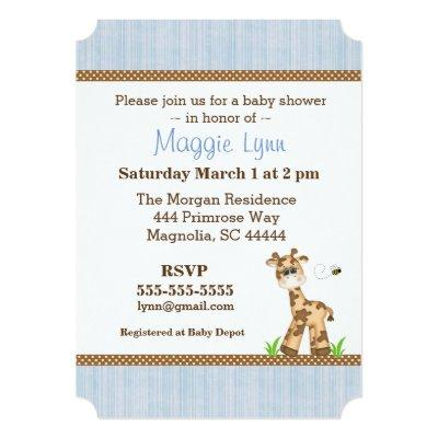 Blue and Brown Giraffe Baby Boy Shower Invitations