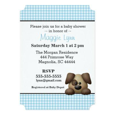 Blue and Brown Puppy Baby Boy Shower Invitations