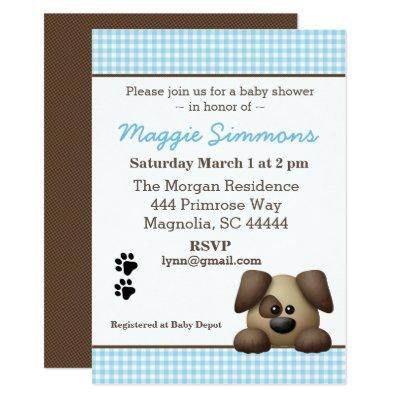 Blue and Brown Puppy Baby Boy Shower Invitation