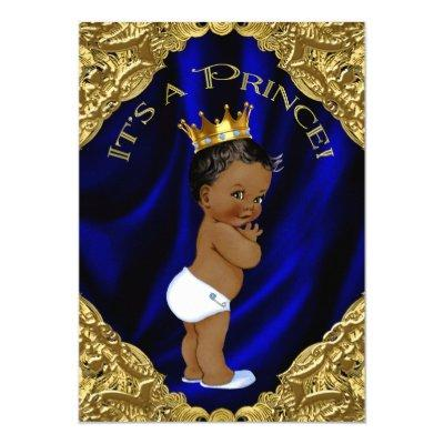 Blue and Gold African American Prince Baby Shower Invitations