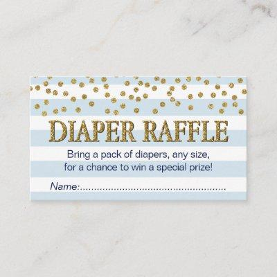Blue and Gold Baby Boy Diaper Raffle Tickets Cards
