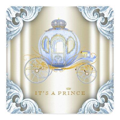 Blue and Gold Carriage Prince Baby Shower Invitation