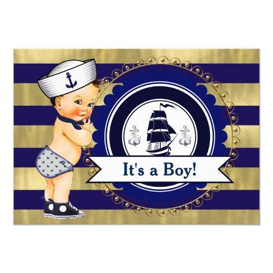 Blue and Gold Sailor Nautical Baby Shower Card