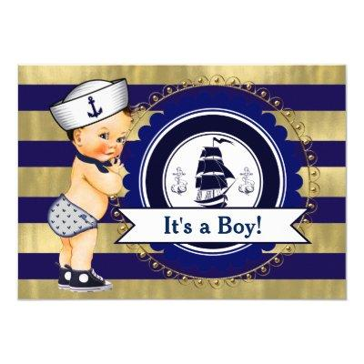 Blue and Gold Sailor Nautical Baby Shower Invitation