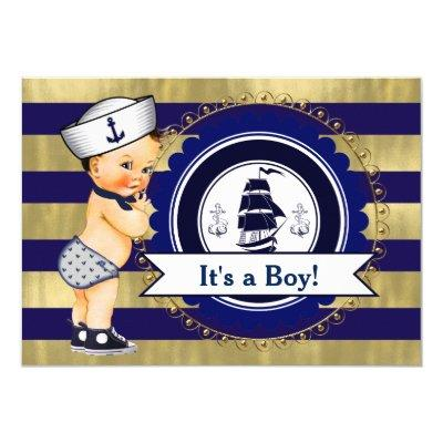 Blue and Gold Sailor Nautical Baby Shower Invitations