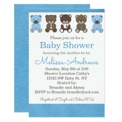 Blue and Gray Teddy Bear Baby Shower Invitations