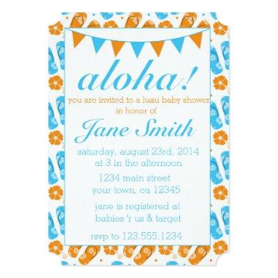 Blue Luau Baby Shower Baby Shower Invitations Baby Shower
