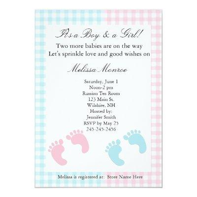 Blue and Pink Twins Sprinkle Shower Invitation