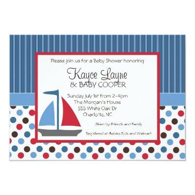 Blue and Red Stripes and Dots Sailboat Invitations
