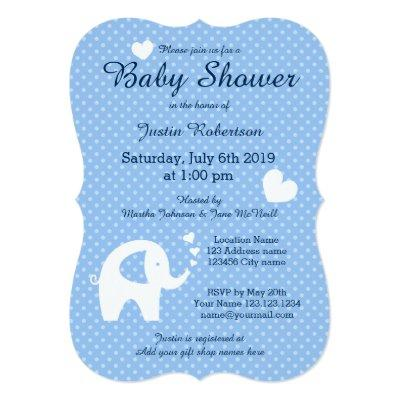 Blue and white elephant baby shower invitations