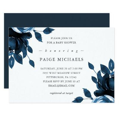 Blue and White Floral Baby Shower Invitation