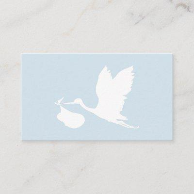 Blue and White Flying Stork Diaper Raffle Enclosure Card