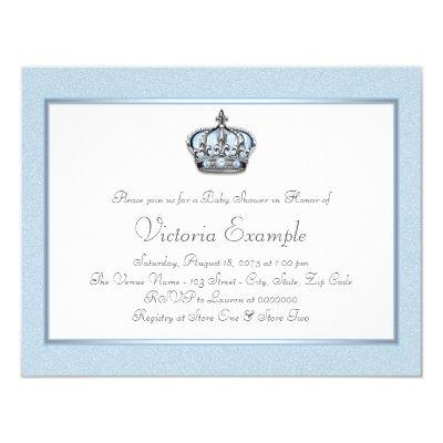 Blue and White Prince Baby Shower Invitations