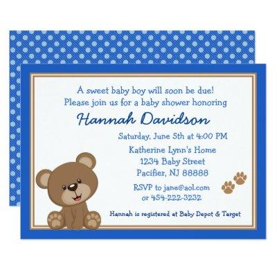 Blue and White Teddy Bear Baby Shower Invitation