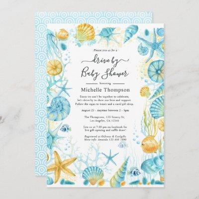 Blue and Yellow Sea Life Drive By Baby Shower Invitation
