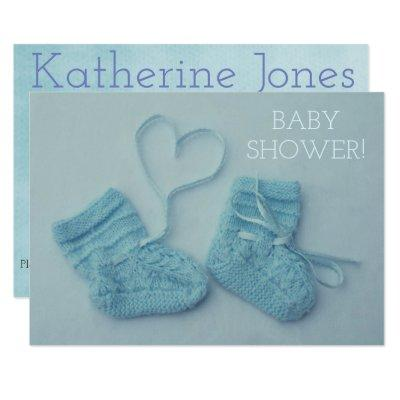 Blue baby boy booties photo shower Invitations