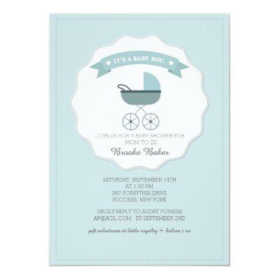 Blue Baby Carriage Baby Shower Invitation
