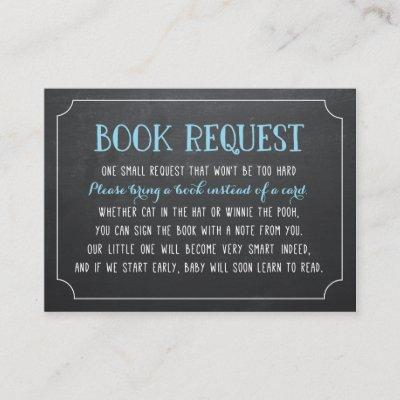 Blue Baby Shower Book Request, Bring a Book Enclosure Card