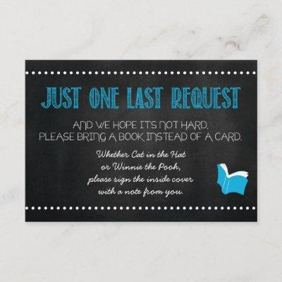 Blue Baby Shower Book Request Card