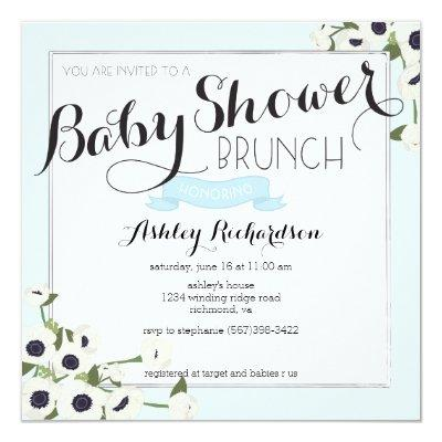 Blue Baby Shower Brunch Invitations