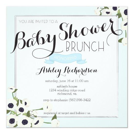 Blue Baby Shower Brunch Invitations Baby Shower Invitations