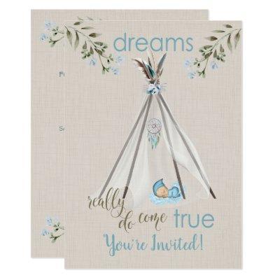 Blue Baby Shower for Boys Boho DreamCatcher Tipi Invitations