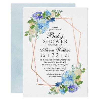 Blue Baby Shower Geometric Floral Rose Gold Invitation