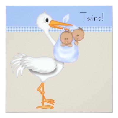 Blue Beige Gingham Stork Twin Boy Baby Shower Invitations