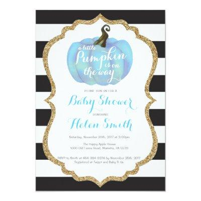 Blue Black and Gold Pumpkin Boy Baby Shower Invitation