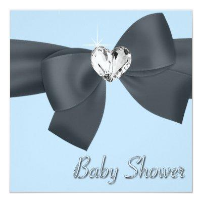 Blue Black Bow Elegant Baby Boy Shower Invitations