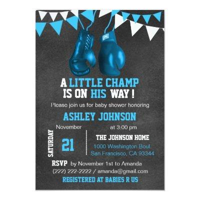 Blue Boy Boxe Boxing Baby Shower Invitations