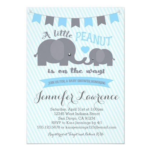 Blue Boy Peanut Elephant Baby Shower Invitations