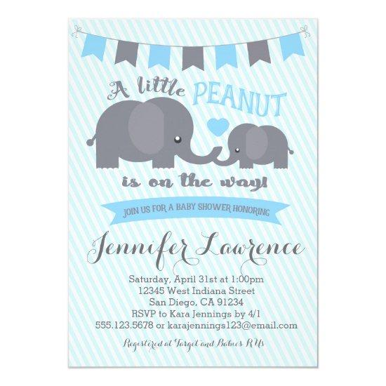 Blue Boy Peanut Elephant Invitations
