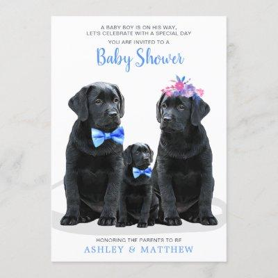 Blue Boy Puppy Dog Couples Baby Shower Invitation