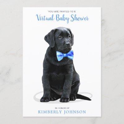 Blue Boy Puppy Dog Virtual Baby Shower Invitation