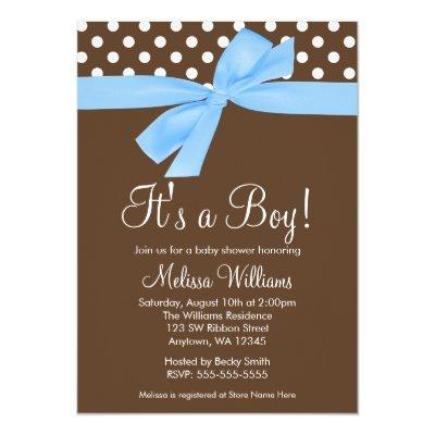 Blue Brown Bow Polka Dot