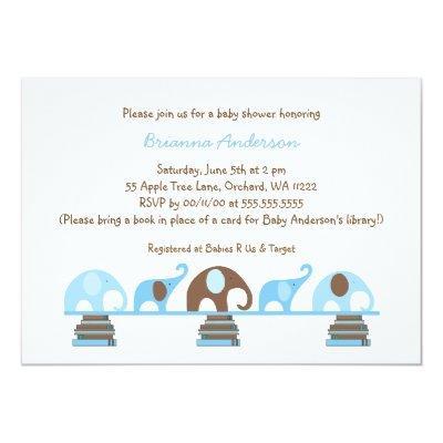 Blue Brown Elephants bring a book Invitations