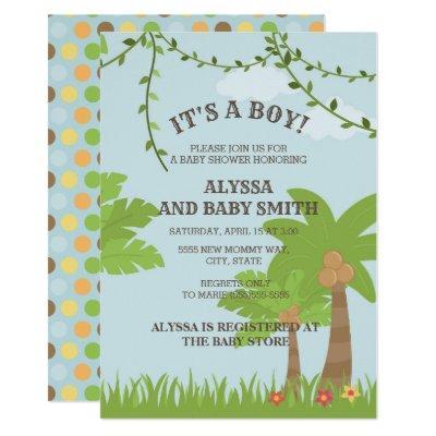 Blue Brown Green Jungle Safari Baby Boy Shower Invitation