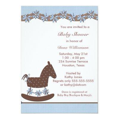Blue Brown Rocking Horse Boy shower Invitation