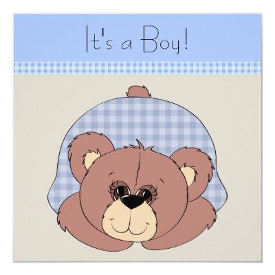 Blue Brown Teddy Bear Baby Boy Shower Invitations