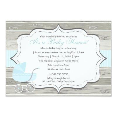 Blue Buggy Baby Carriage Invitation