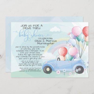 Blue Car Balloons Drive Thru Baby SHower Invitation